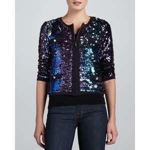 michael simon All Over Sequin Crop Jacket